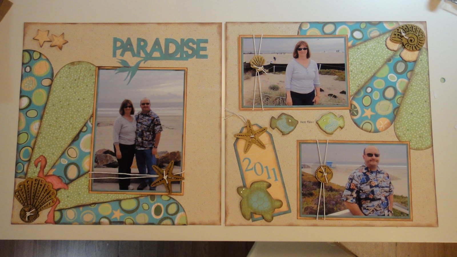 """She used Sizzix die from SU to create the fan shapes. Not sure where """"Paradise Found"""" is from that is stuck in my head, but it would be a great title for Fooloose layout."""