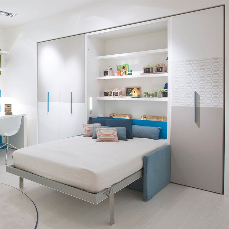 The Altea Book Sofa is a vertically opening wall bed system that features interior shelves and a two person sofa Review - Minimalist hideaway bed sofa New