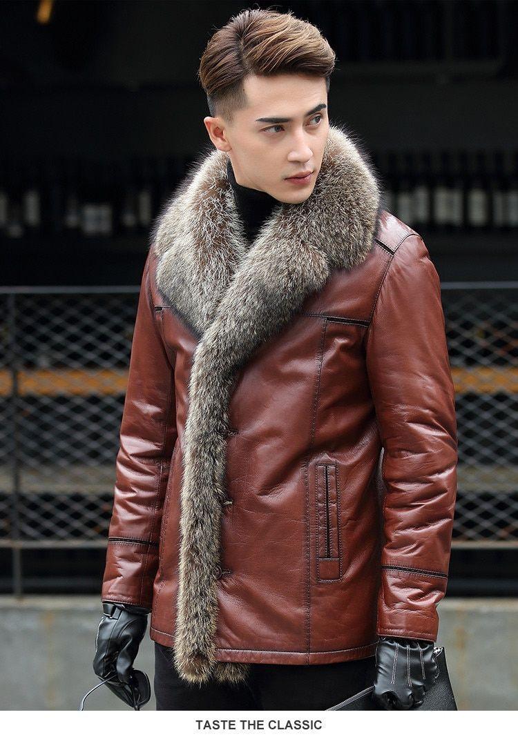 Winter Grain Leather Sheep Coat Raccoon Fur Large Collar Fur Collar Jacket Collar Jackets Fur Collars [ 1071 x 750 Pixel ]