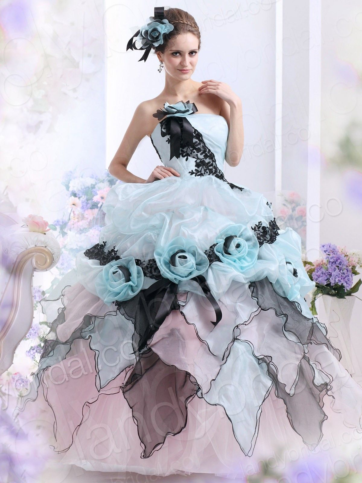 Ball Gown Strapless Brush Train Blue Organza Lace Up Corset Wedding ...
