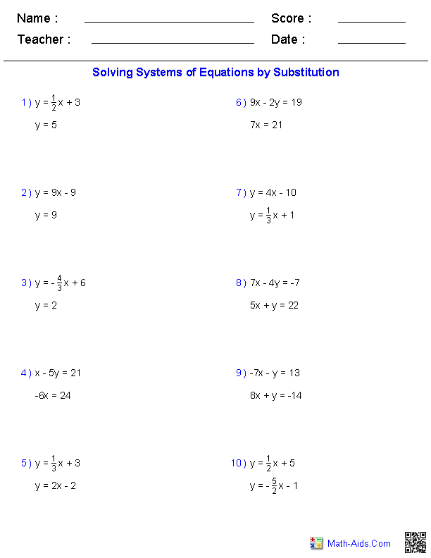 Solving Two Variable Systems of Equations Worksheets | Math-Aids.Com ...