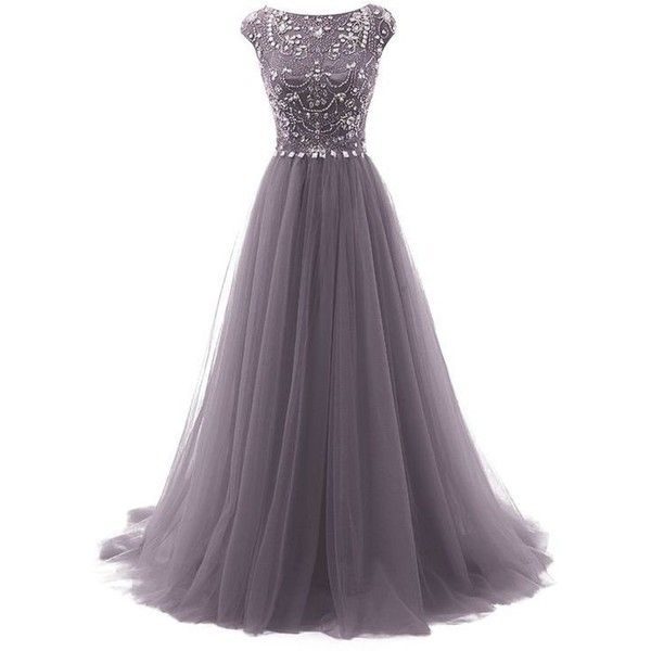 Grey Floor Length Tulle A-Line Prom Dress Featuring Beaded Embellished... ❤ liked on Polyvore featuring dresses, gray cocktail dress, cap sleeve cocktail dress, cap sleeve prom dress, gray prom dresses and a line prom dresses