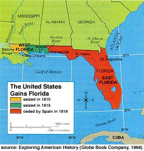 Map Of Florida 1818 And West Of The Louisiana Purchase Spain