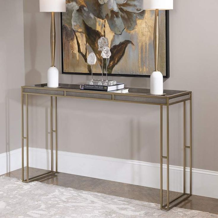 "Uttermost Cardew 54""W Charcoal Gray and Brass Console"