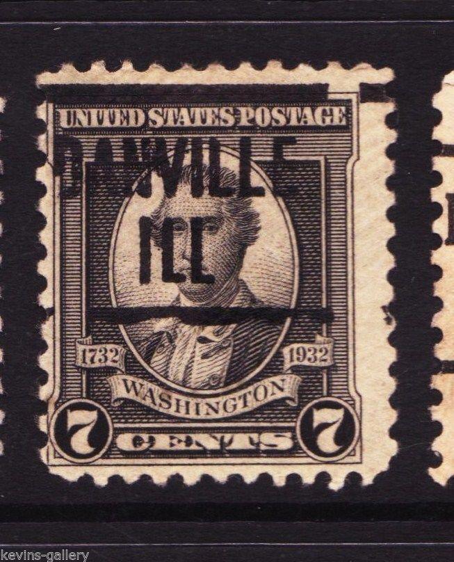 Kgstamp Danville IL Illinois 1932 Issue 7 Cent Washington Precancel Stamp