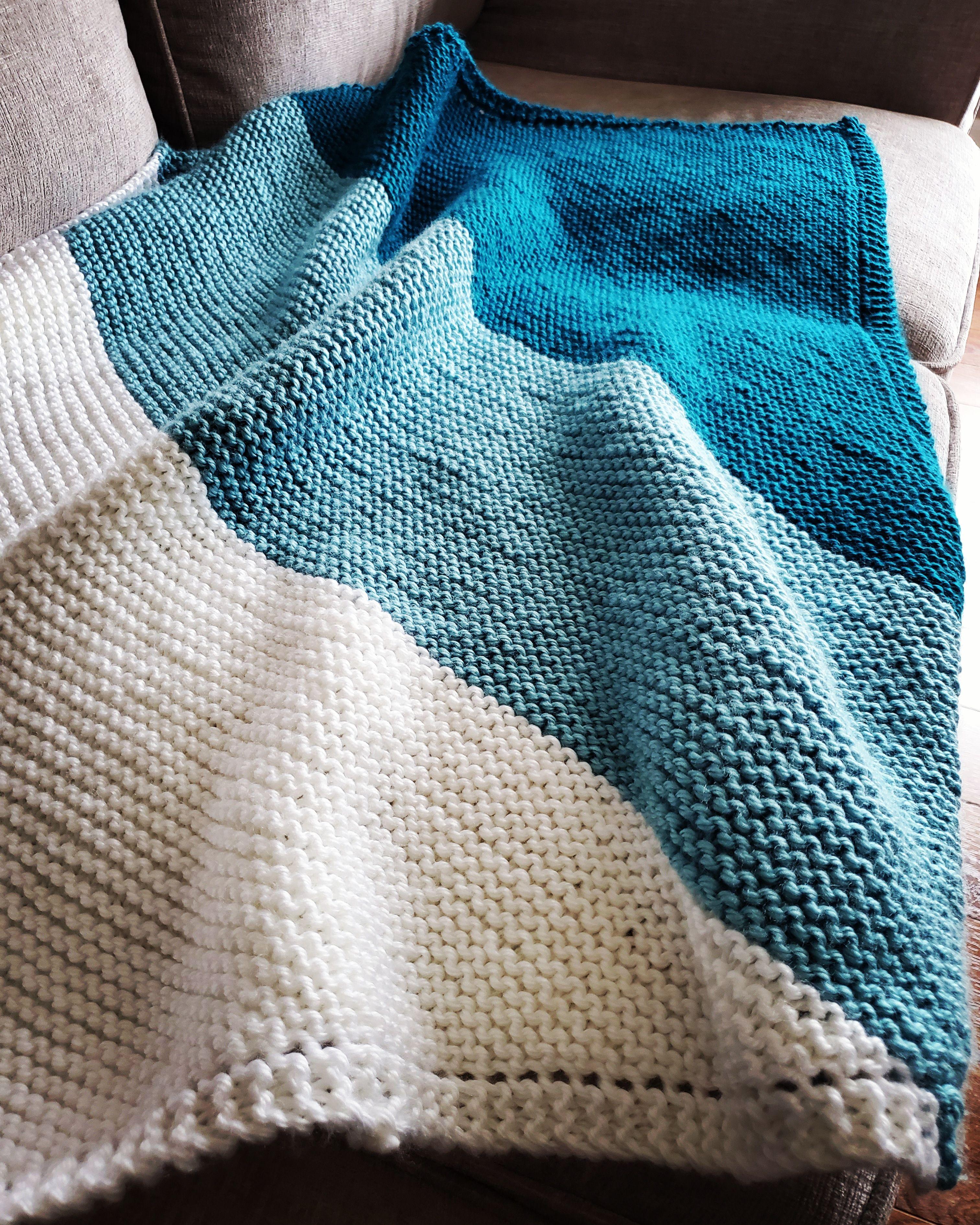 Photo of Tri-coloured Diagonal Garter Stitch blanket…