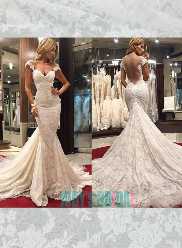 Y Backless Plunging Cap Sleeves Mermaid Lace Wedding Dress