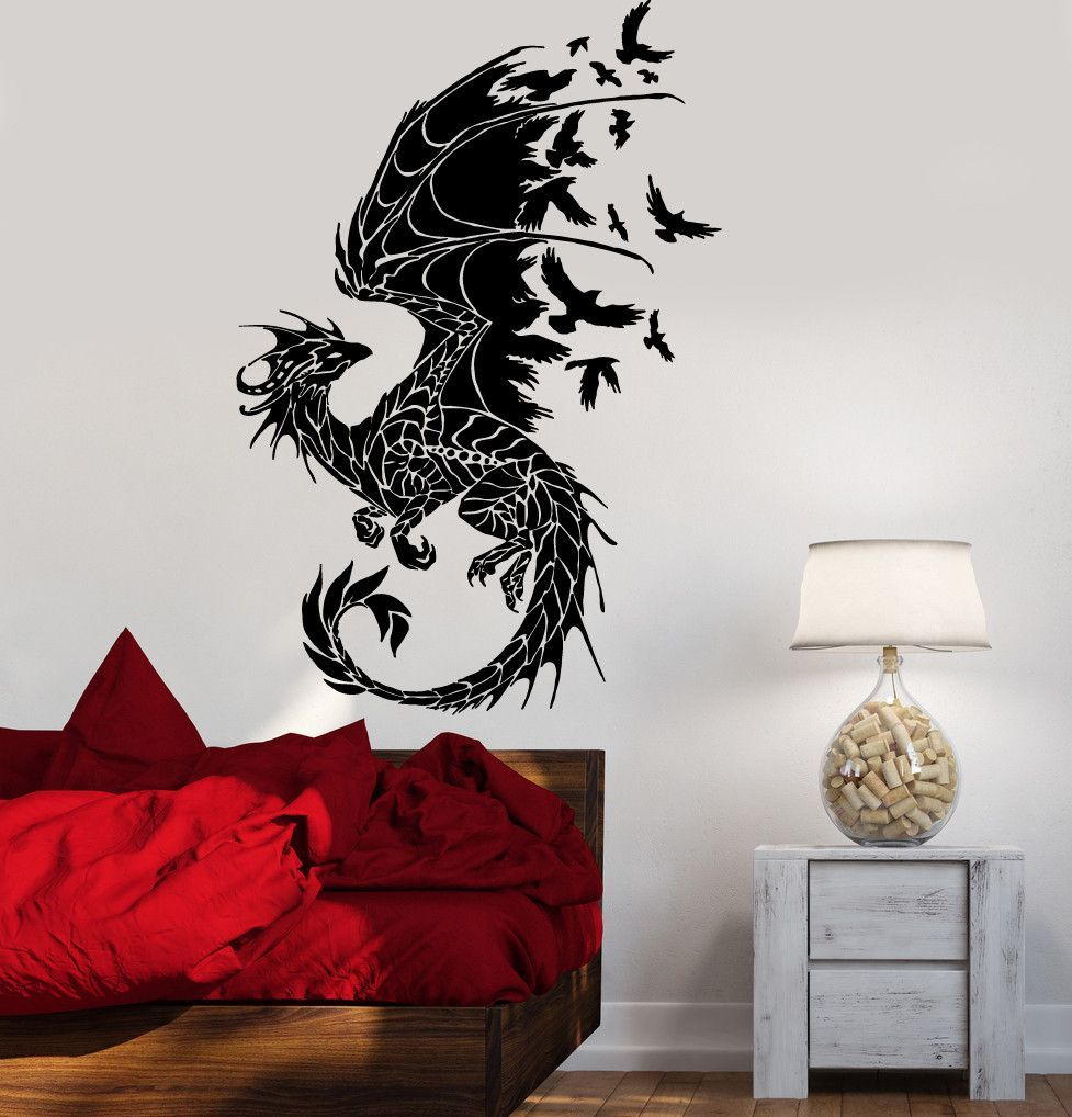 Dragon Wall Sticker Birds Fantasy Fairytale Gothic Abstract Decor - Wall vinyl stickerswall vinyl designs home design ideas