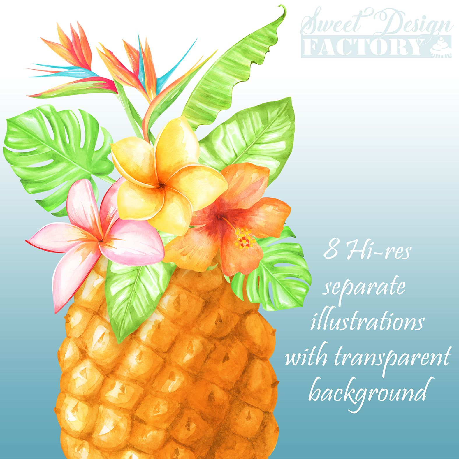 Pineapple clipart/ summer clipart/ watercolor flower ...