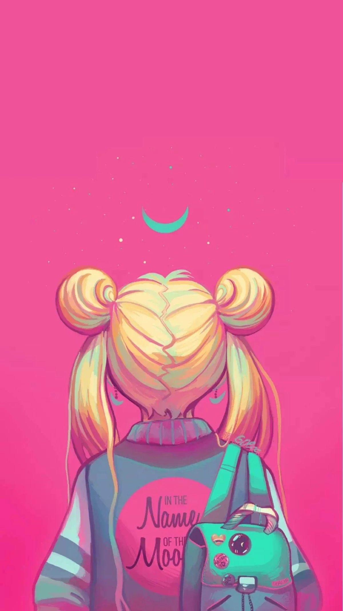 Sailor Moon painting, neon pink, in the name of the moon