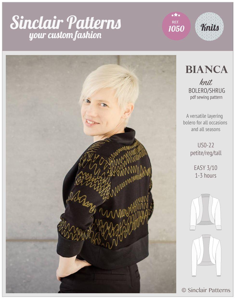 PDF Sewing Patterns Sinclair Patterns Bianca knit bolero/shrug (PDF ...