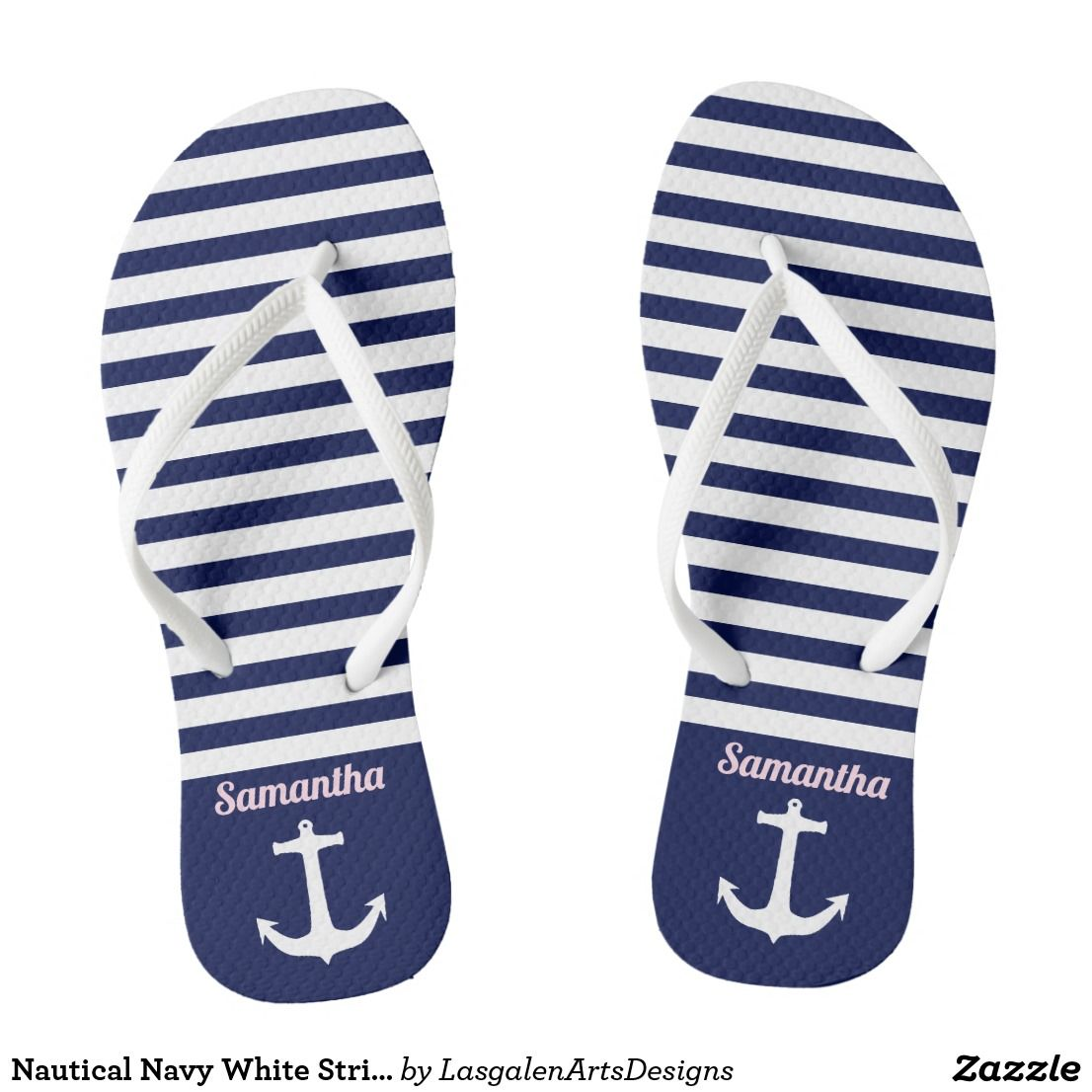 61fb4da54259 Nautical Navy White Stripes Anchor Flip Flops For The Beach. For the sea or  just around town these fun nautical designed flip flops are perfect.