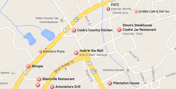 Map Of Blairsville Georgia Restaurants Interactive Google