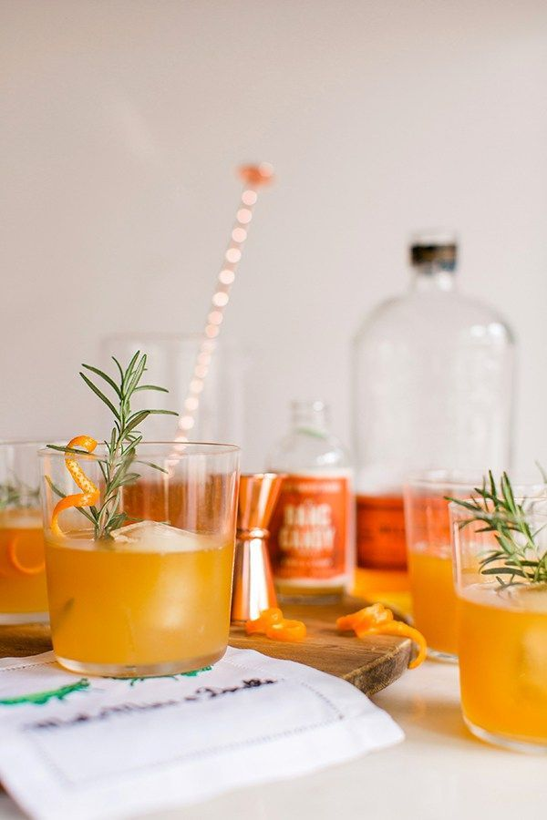 Spiced Orange & Rosemary Bourbon cocktail recipe via Waiting on Martha