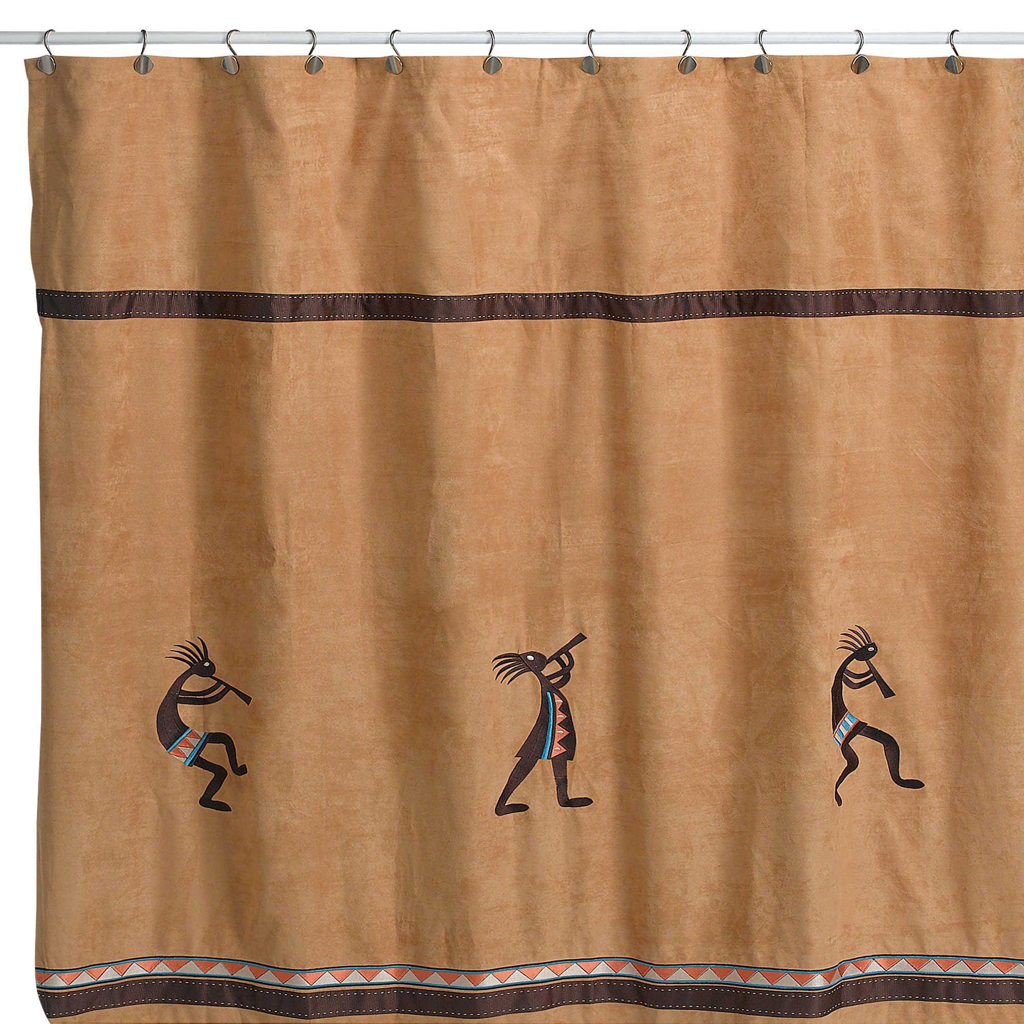 Avanti Kokopelli Shower Curtain In Nutmeg Fabric Shower Curtains Shower Curtain Curtains