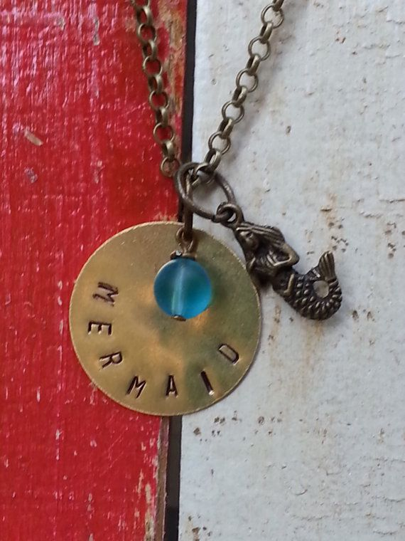 Stamped Brass Mermaid Necklace by BordersBeachShop on Etsy