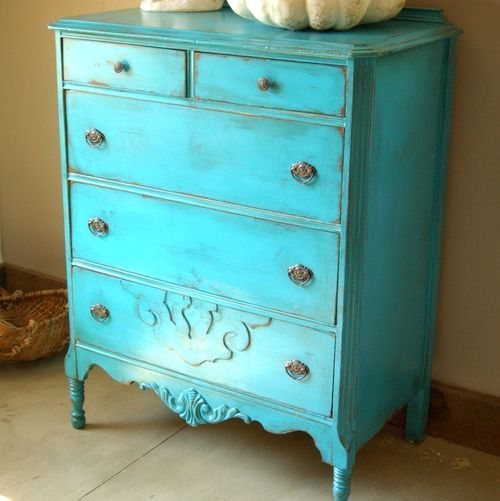 Turquoise Painted Furniture | Antique Shabby Chic Painted Dresser Turquoise  Blue Distressed Paint .