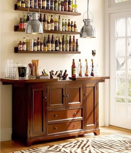 small mini bar design with rustic wooden cabinet