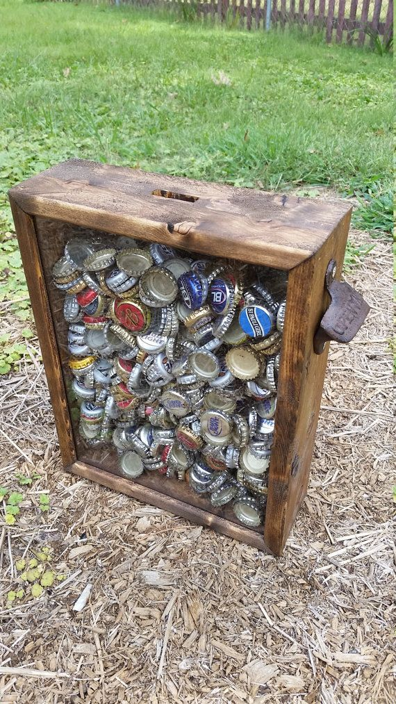 PERSONALIZABLE EXTRA LARGE Size Beer Bottle Cap Holder Shadow Box With Rustic Bottle Opener On Side - Stained wood & glass #stainedwood
