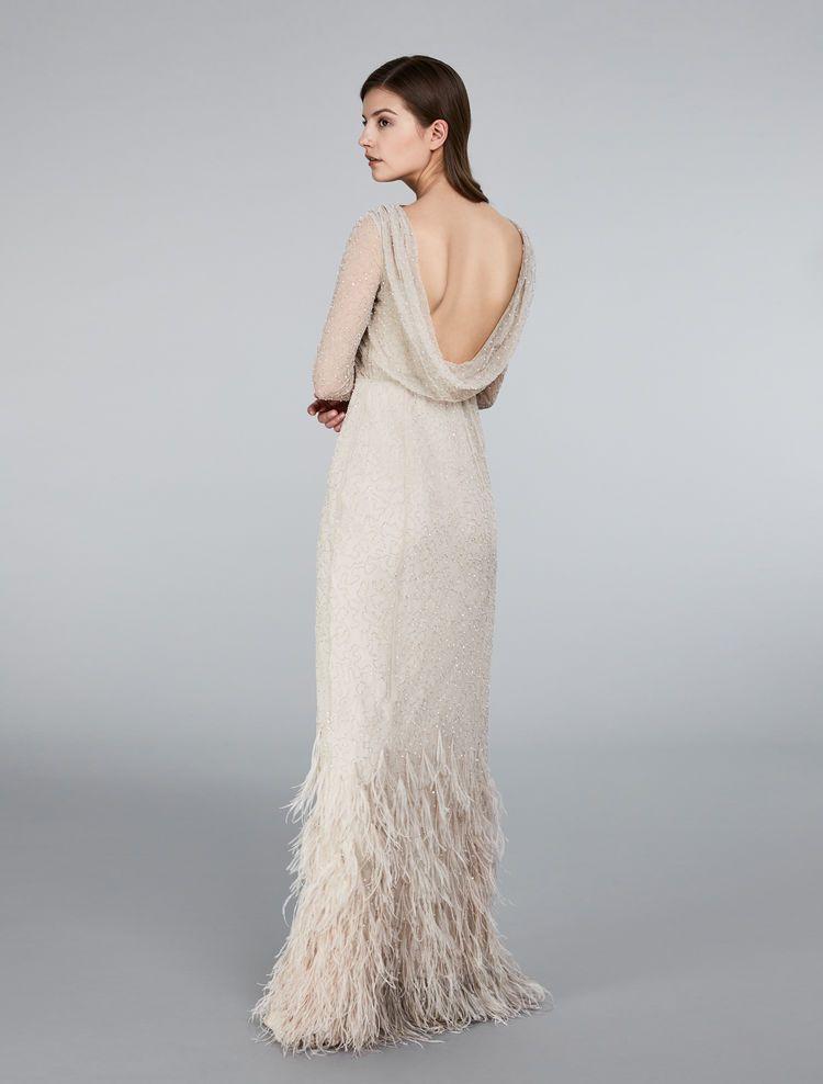 stile classico imbattuto x tecnologia avanzata Abito in tulle, paillettes e piume, cipria | Wedding Dresses ...