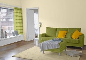 Farbgestaltung Fr Ein Wohnzimmer Im Naturton Cashmere Kombiniert Mit Den Farben Farn Und Sommergelb