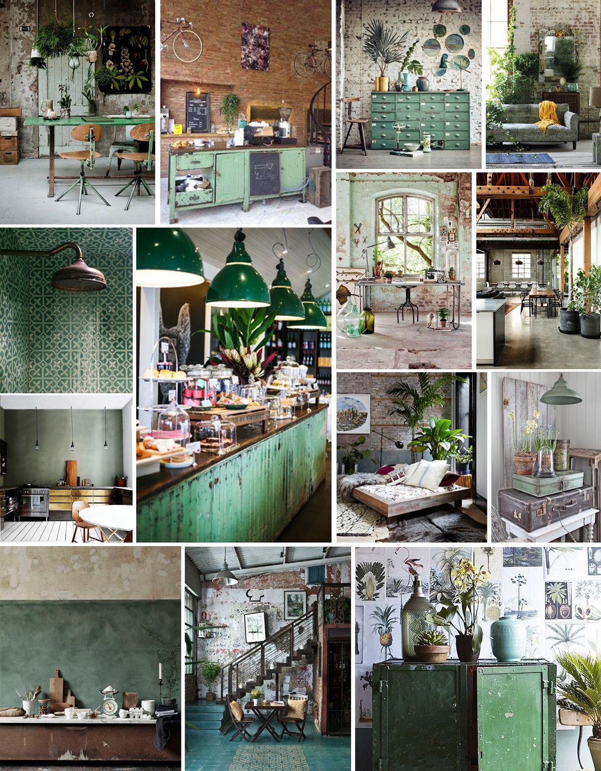 Industrial green #home #decor #moodboards | Kate\'s Kitch | Pinterest ...