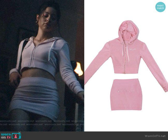 Maddy's pink baby girl embellished hoodie and skirt set on Euphoria #maddyeuphoriaoutfits