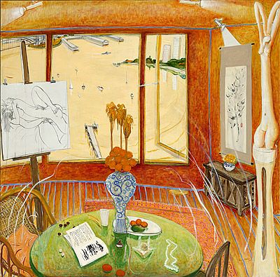 Interior with time past, by Brett Whiteley, 1976. Oil, charcoal and ink on canvas.