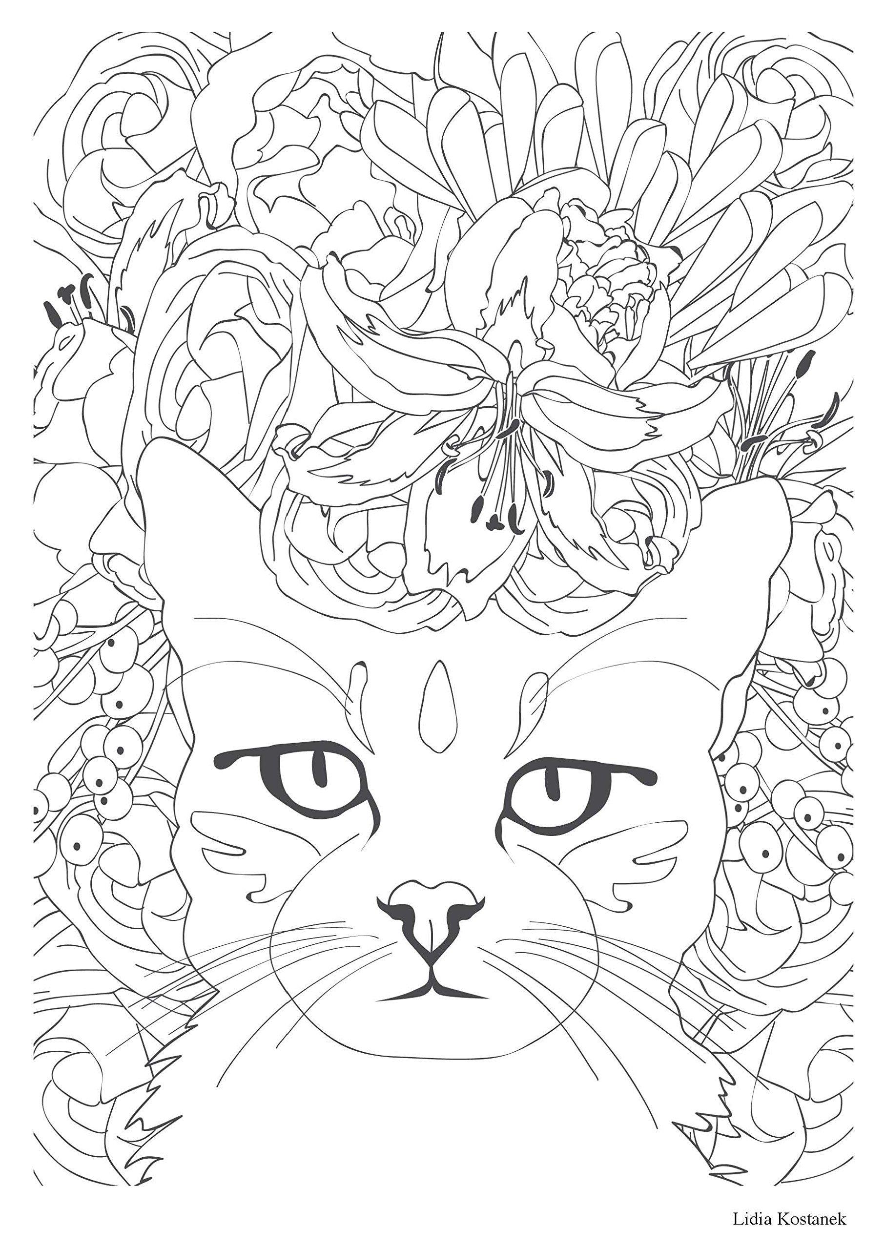 Gatos Desenhos Colorir Adultos With Images Cat Coloring Page