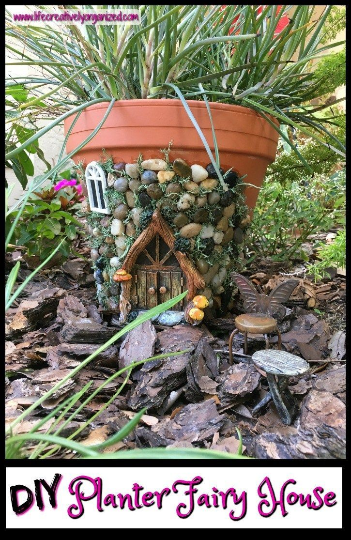 Here's how to make a sweetly whimsical DIY fairy house planter from a terra cotta pot & other inexpensive items. It's really easy, so why not give it a try? #lifecreativelyorganized