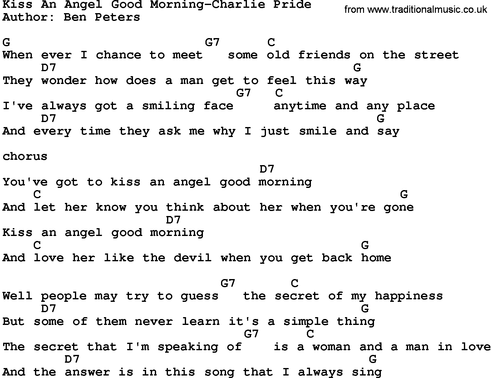 Kiss an angel good morning charlie pride guitar pinterest country music kiss an angel good morning charlie pride lyrics and chords hexwebz Images