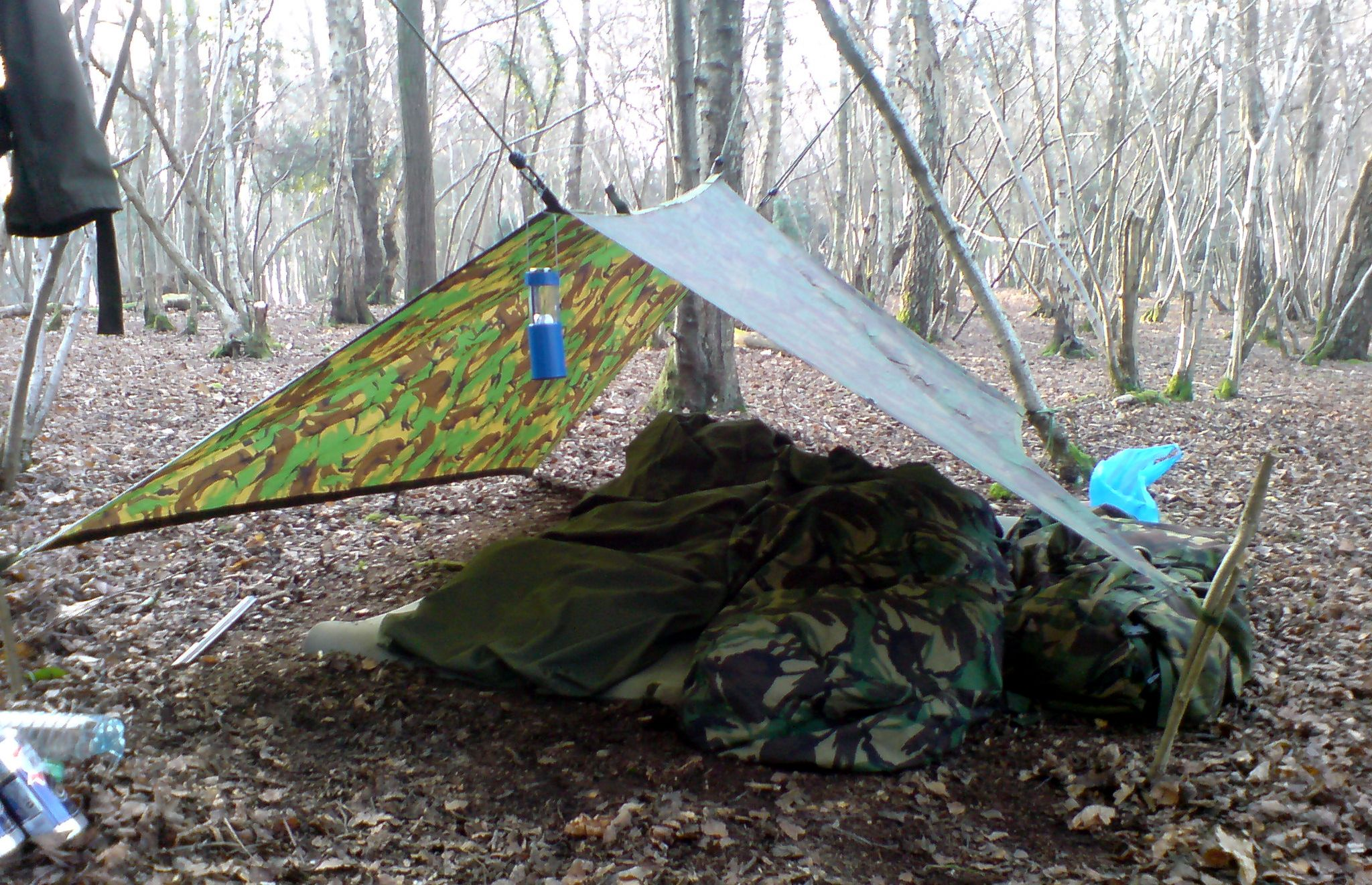 Simple c&ing set up sleeping on the floor. British Army DPM basha strung up with & Simple camping set up sleeping on the floor. British Army DPM ...