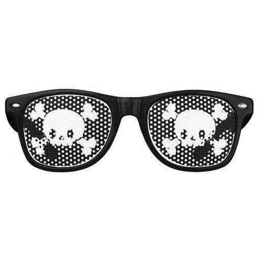 Black Skull and Crossbones Pirate Glasses