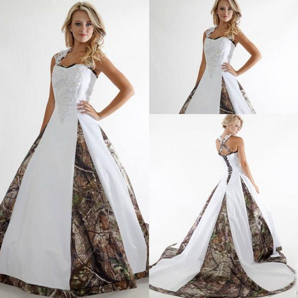 Cheap Vintage A Line Applique Lace Camo Wedding Dresses 2016 Custom ...