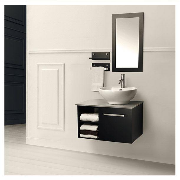 Mesa Para Lavabos Modernos.Medidas 60 96 Cm Empotrable Color Chocolate Con Espejo Y