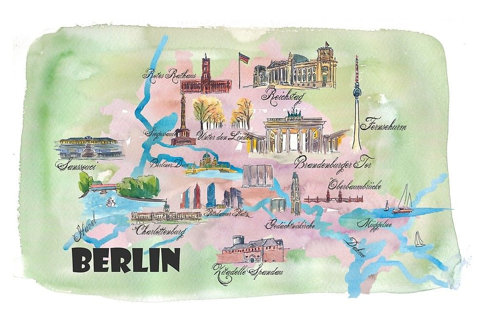 Berlin Favorite Map With Touristic Top Ten Highlights Von