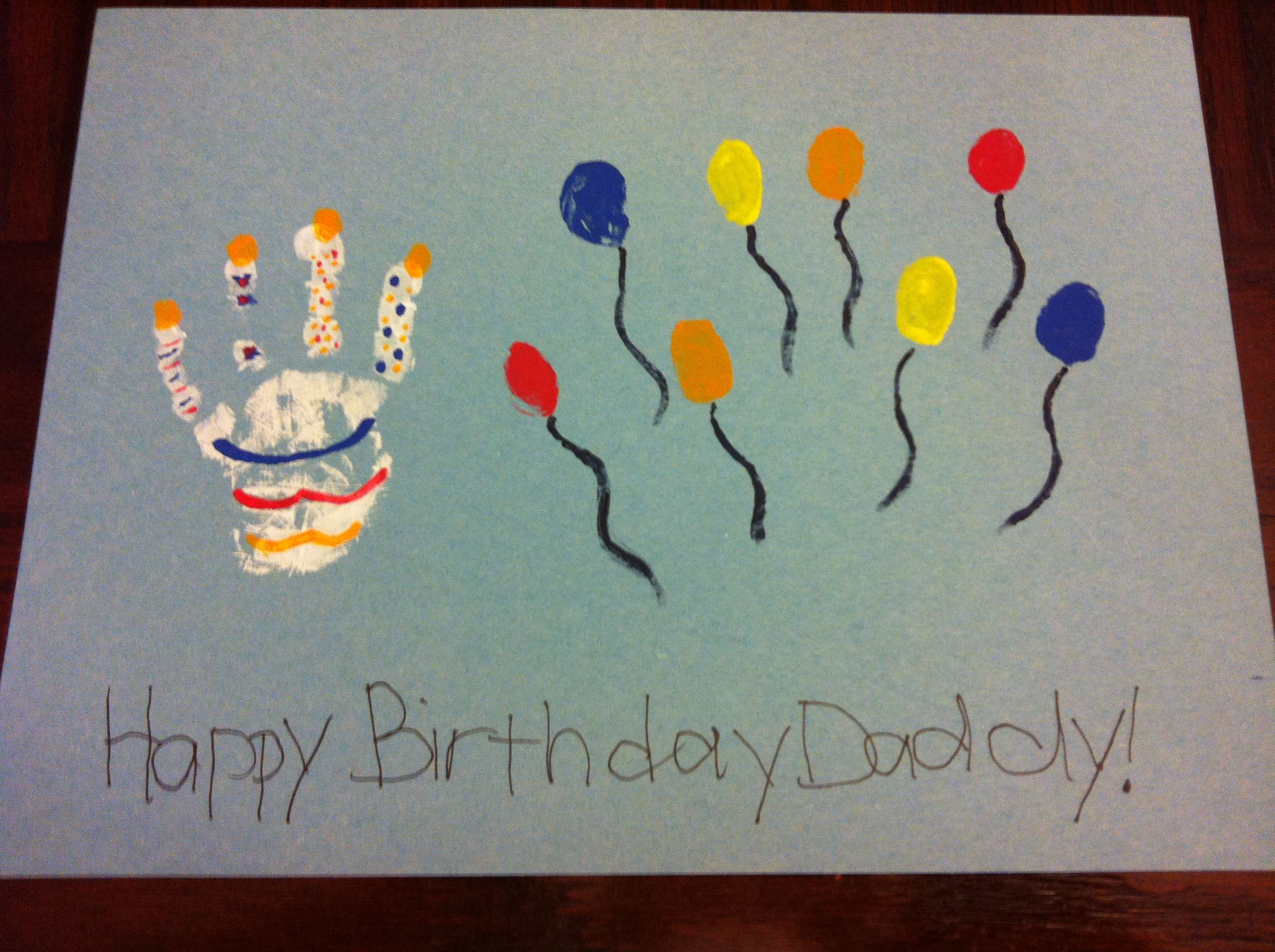 HandFinger print cake balloon birthday card Super Easy Did