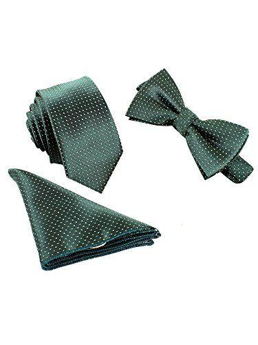 Clásica Pajarita Corbata Pañuelo de Bolsillo 3 en 1 Set para Hombre -Paisley EYx4Wj