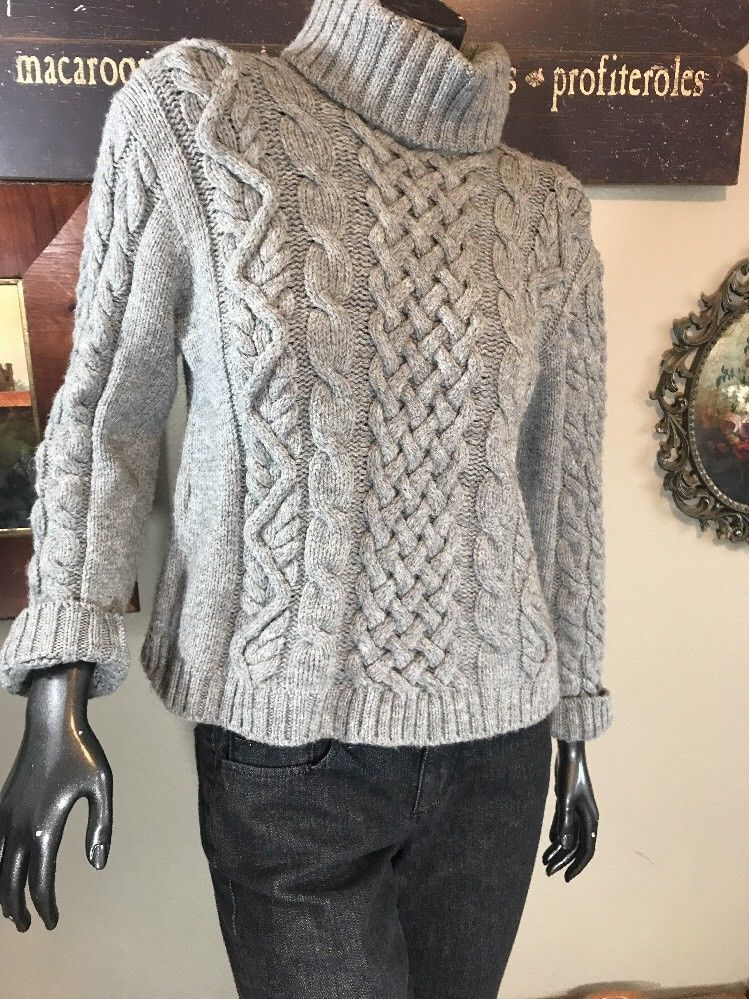 cf002d0b16 PEREGRINE of England 100% Wool Cable Knit Sweater Women s S-M Heather Grey