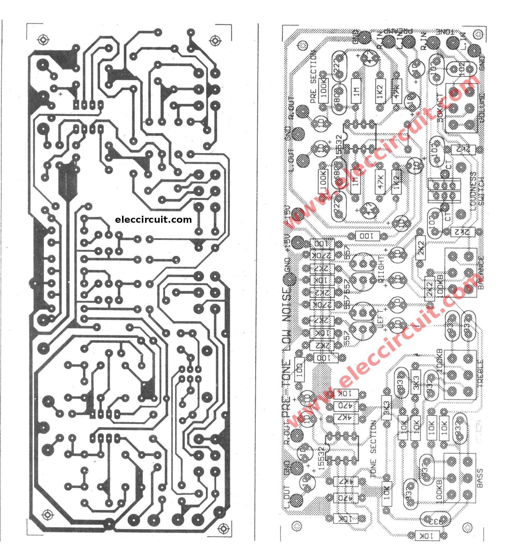 Low Noise Pre Tone Control Circuit Using 4558 Ne55532 Eletrnica Amplifiercircuitsaudio Completeinductioncookercircuit This Is Or Easy Make With One Pcb Layout Board Can Adjust Bass Treble Mid Volumealso Use To Microphone