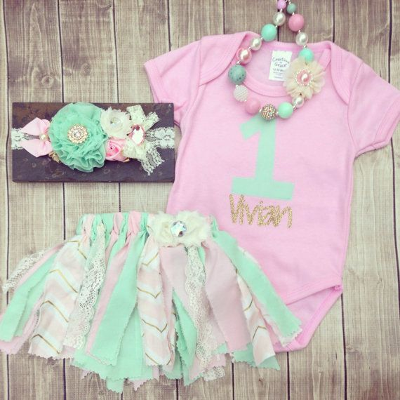 First Birthday Party In A Box In Gold Mint And Pink: Pink And Gold First Birthday Outfit, Vintage Birthday