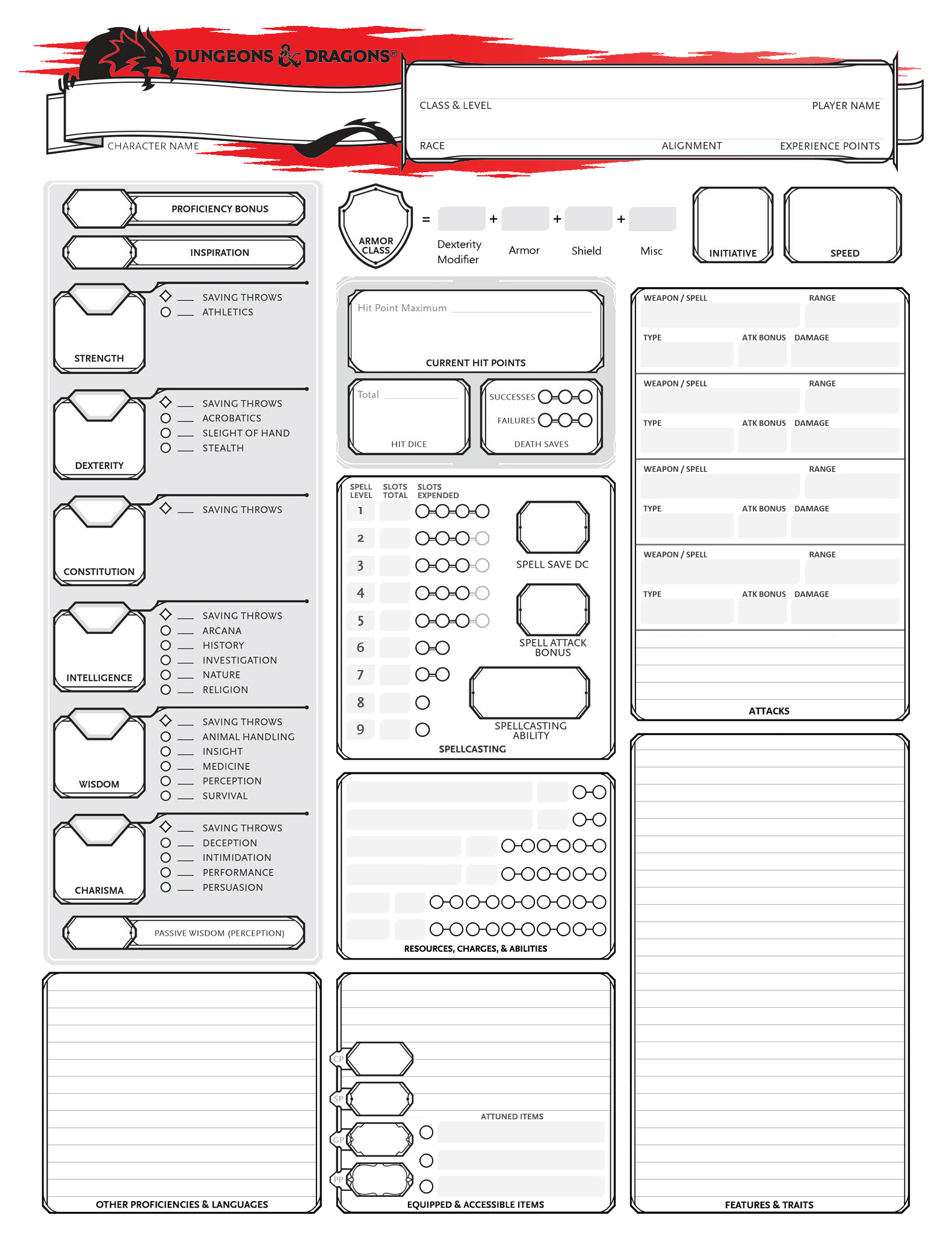 D&D 5e Player Handouts | D&D Concepts | Dnd character sheet