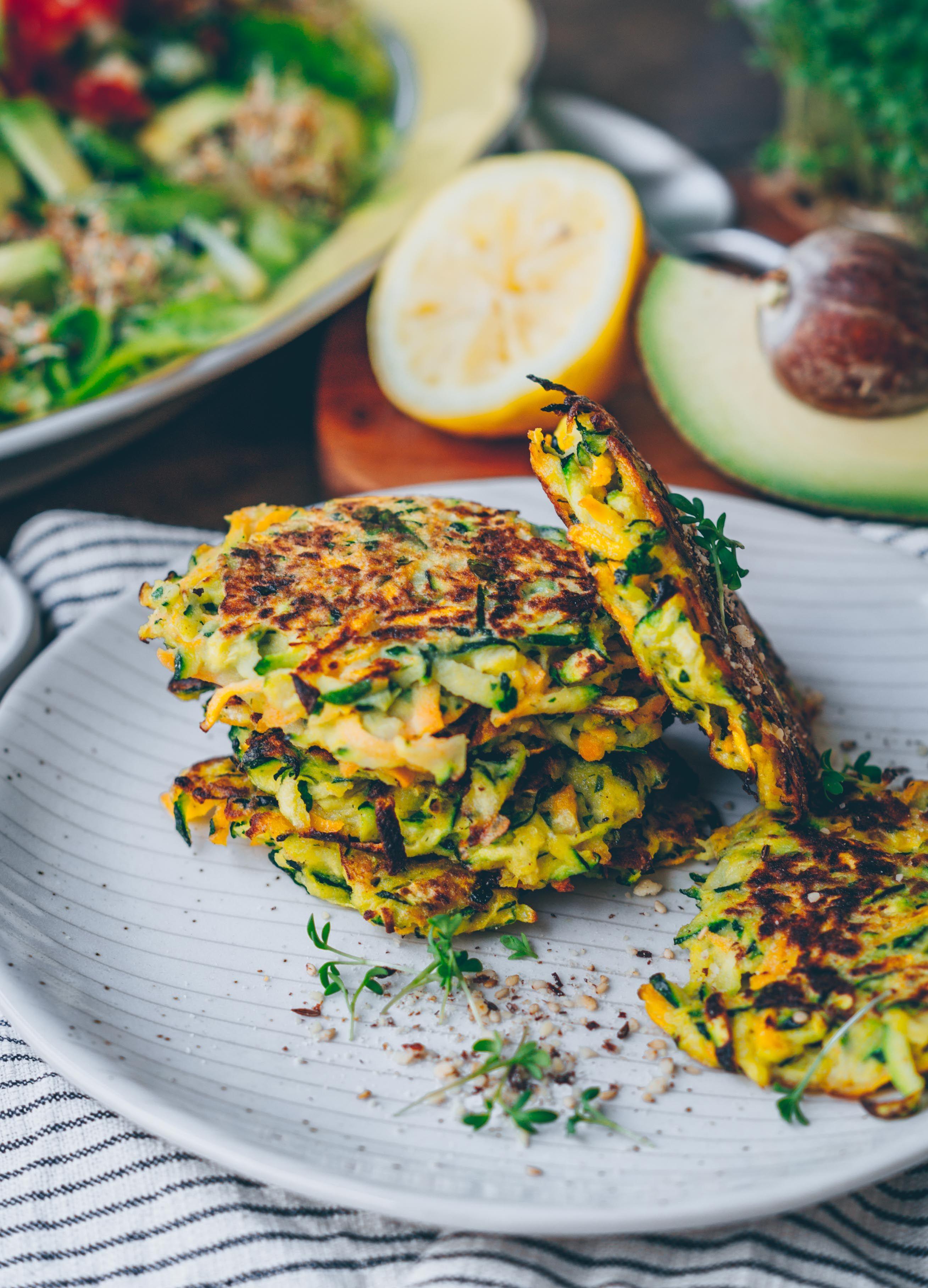 Karotten Zucchini Puffer Vegan Gf Klara S Life Zucchini In