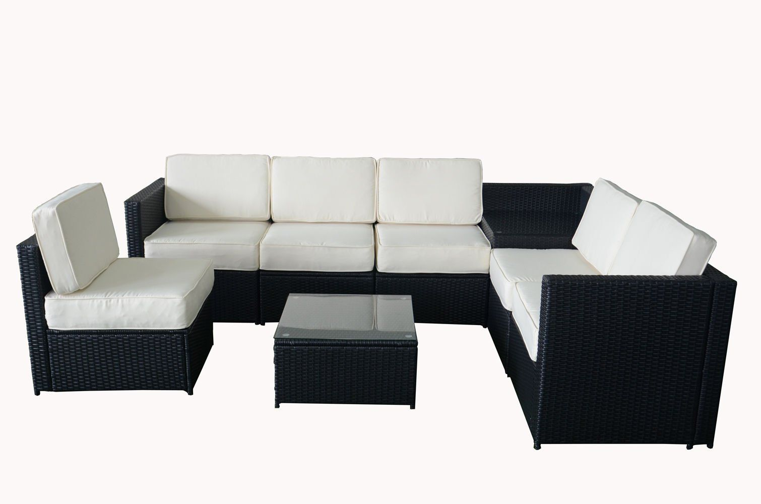 Mcombo piece wicker patio sectional indooroutdoor sofa