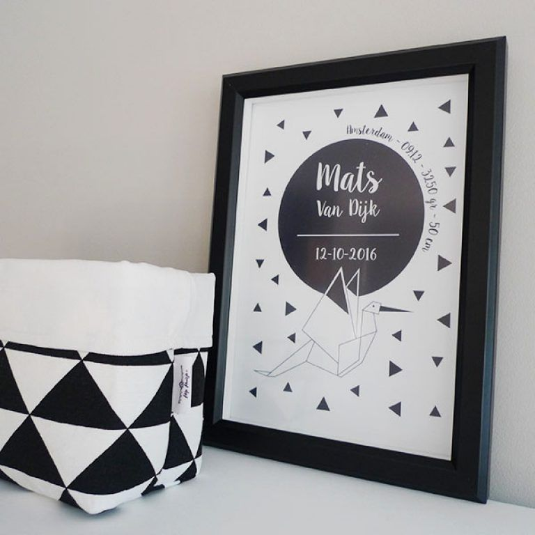 poster-babykamer-zwart-wit-persoonlijk-hip-huisje