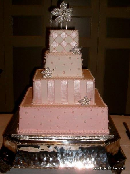 Wedding Cakes 4 Tier Buttercream Square Pink Large And Small Sugar