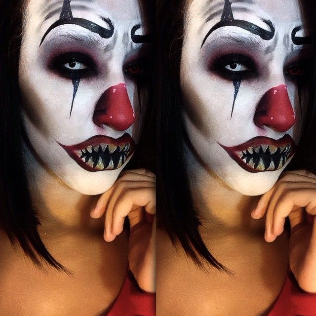 Evil Scary Clown Makeup Idea / pairs great with All-White Contact lenses ~ //.pinterest.com/pin/350717889705763104/ & Evil Scary Clown Makeup Idea / pairs great with All-White Contact ...