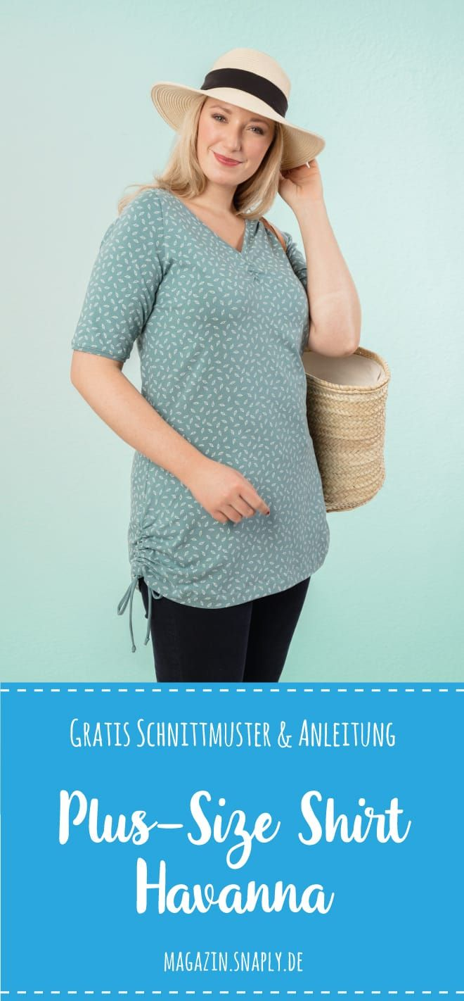 "Photo of Kostenloses Schnittmuster: Plus-Size-Damen-Shirt ""Havanna"" 