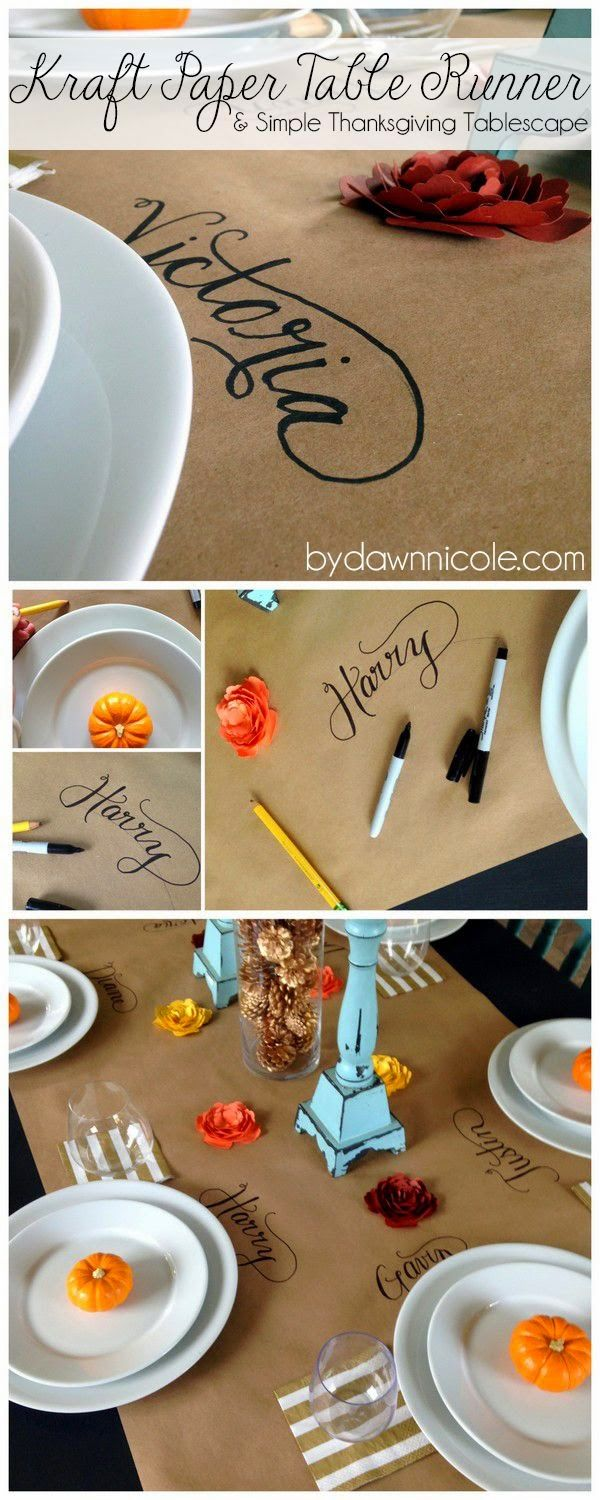 Easy Kraft Paper Table Runner \u0026 Simple Thanksgiving Tablescape or even Kids Table for the Holidays. & Perfect for the kid\u0027s table. They can color and draw on it too ...