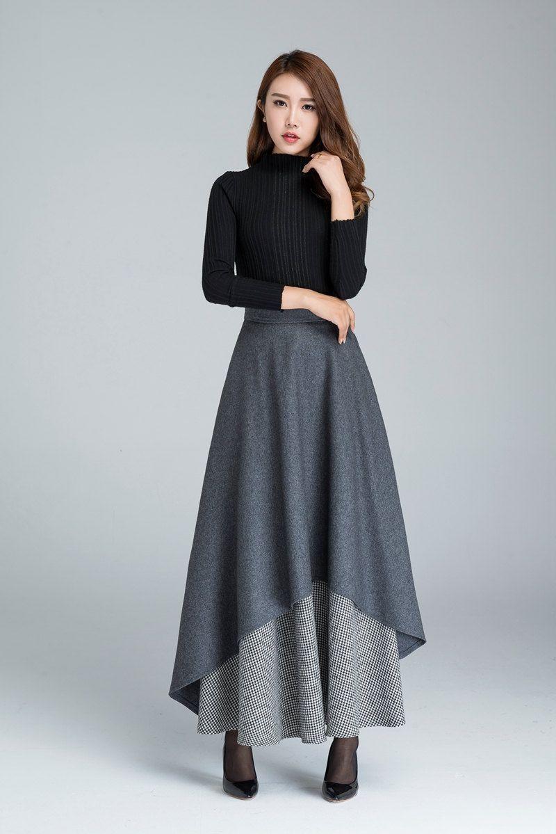 Dark grey skirt long skirt warm winter skirt black and white